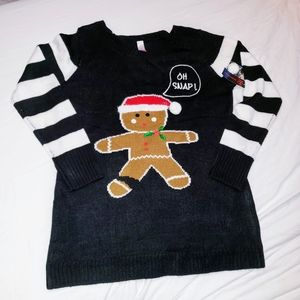 """NO BOUNDARIES """"OH SNAP"""" GINGERBREAD TUNIC SWEATER"""